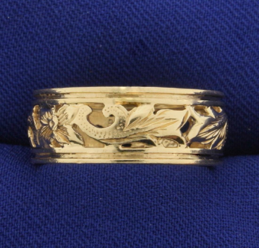Flower Design Band Ring in 14k Gold