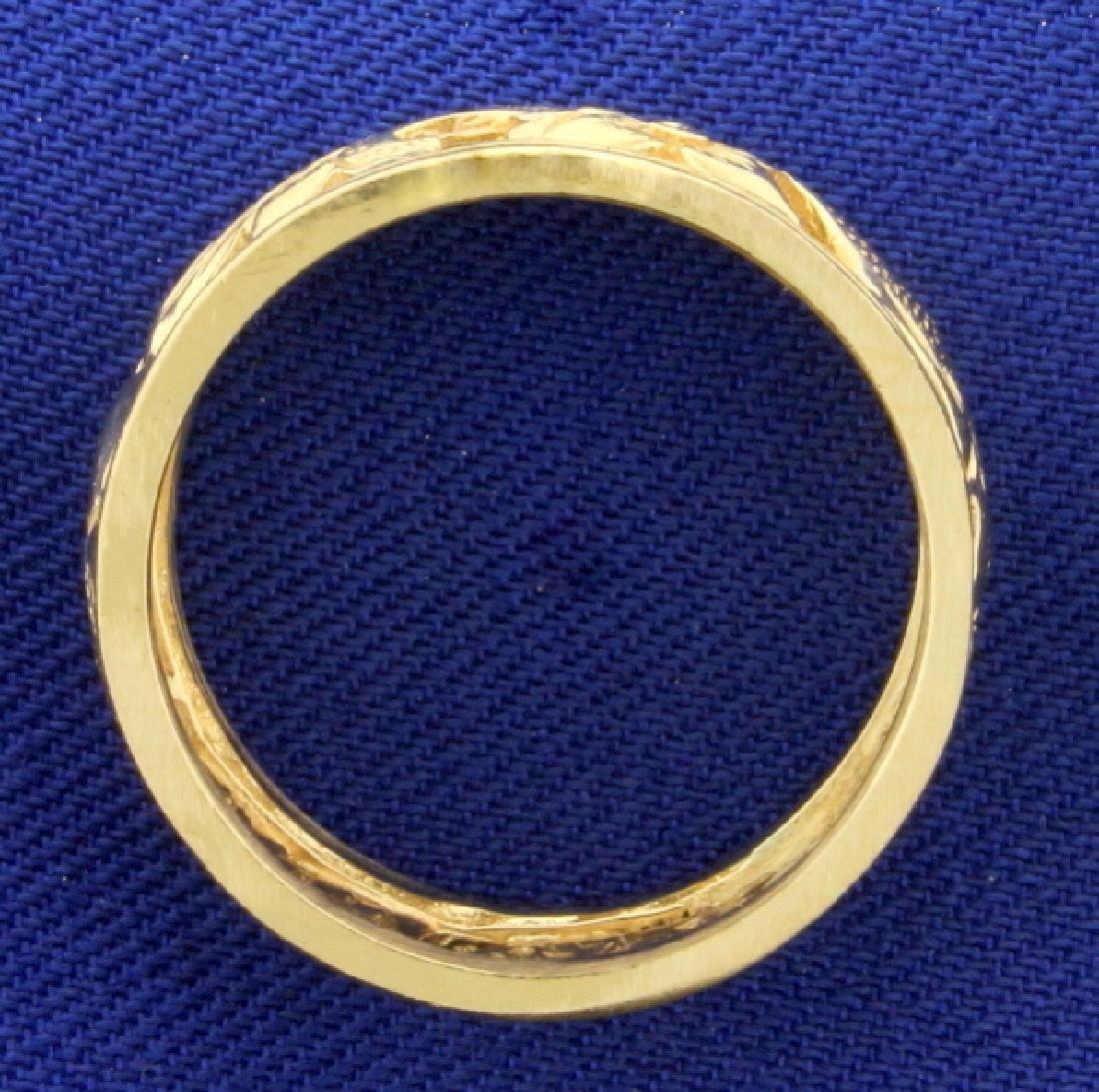 Flower Design Band Ring in 14k Gold - 2