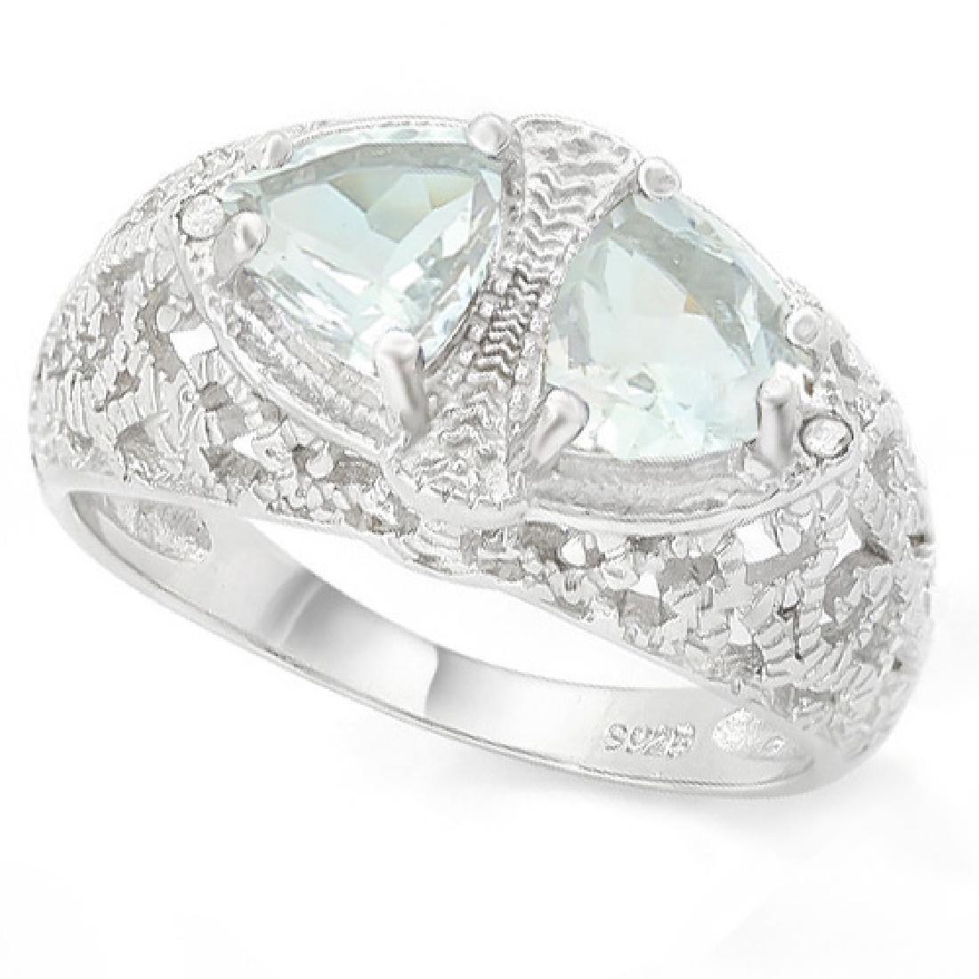 Filigree 2 Stone Aquamarine Ring with Diamond in