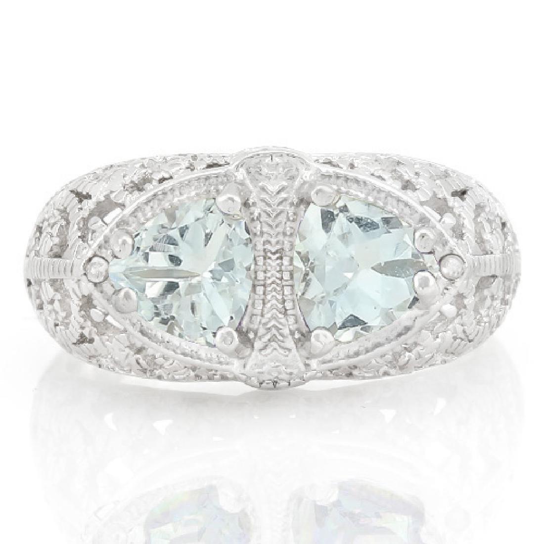 Filigree 2 Stone Aquamarine Ring with Diamond in - 2