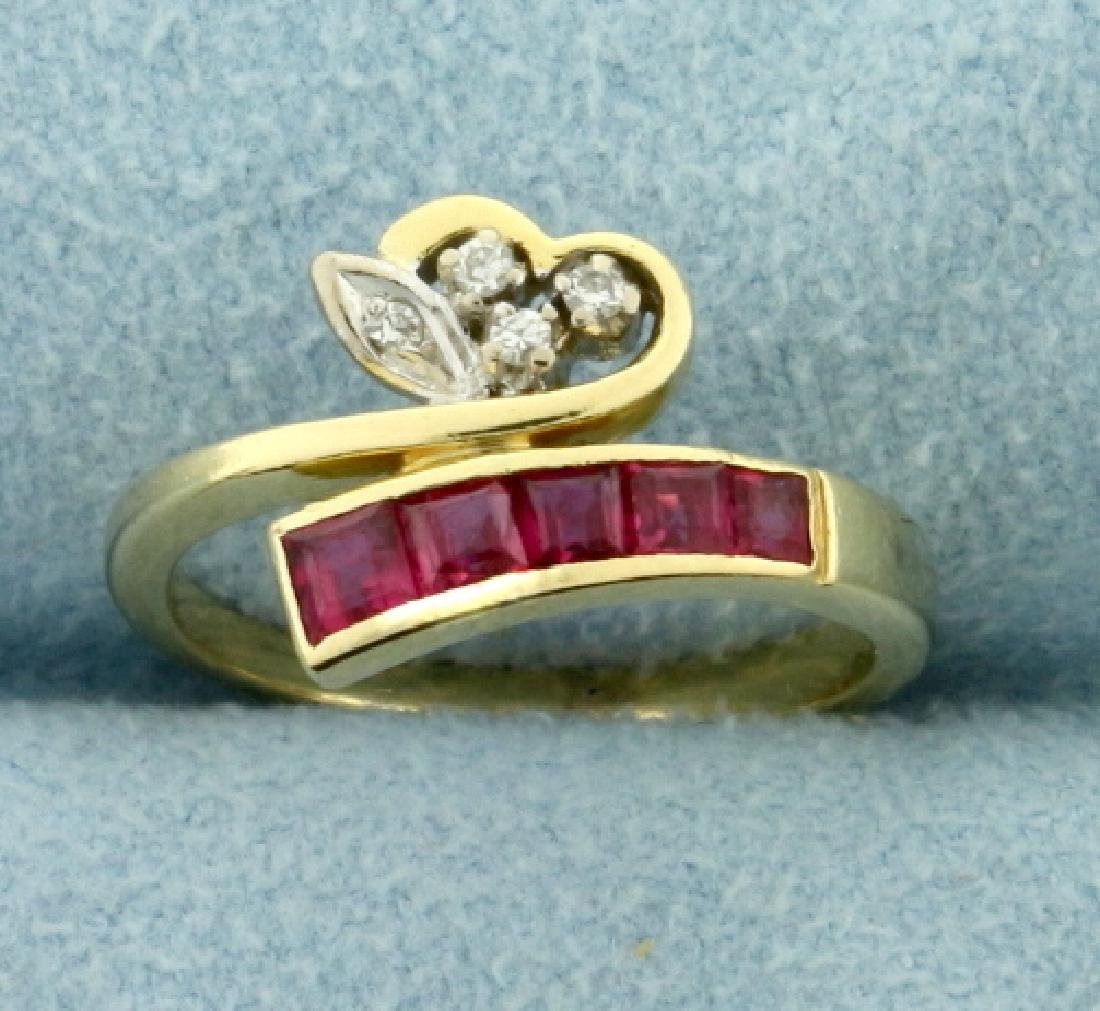 Natural Ruby and Diamond Wrap Style Heart Ring in 14k