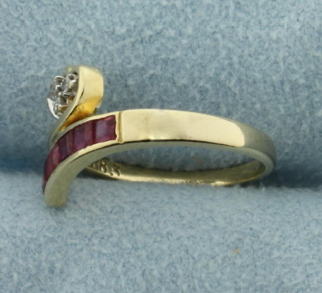 Natural Ruby and Diamond Wrap Style Heart Ring in 14k - 2