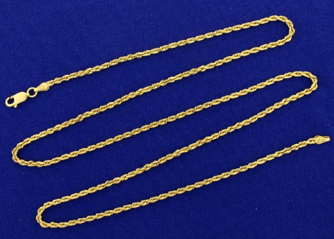 24 1/2 Inch Rope Style Neck Chain in 14k Gold