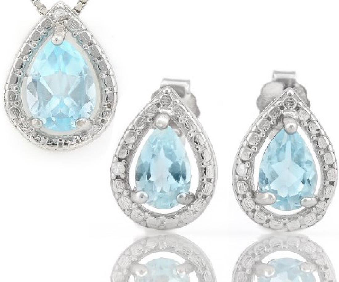 Baby Swiss Blue Topaz 1.8CTW Pendant and Earring Set in