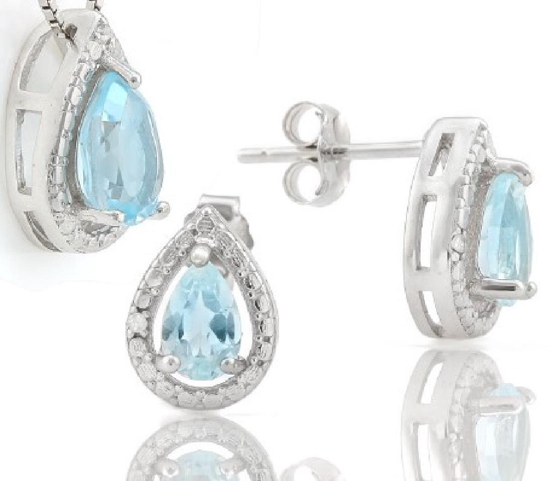 Baby Swiss Blue Topaz 1.8CTW Pendant and Earring Set in - 2