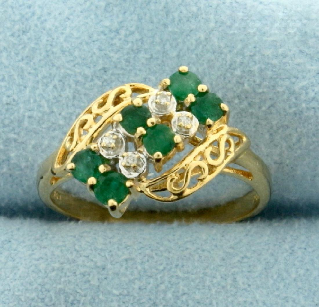 Vintage Emerald and Diamond Ring in 14k Gold