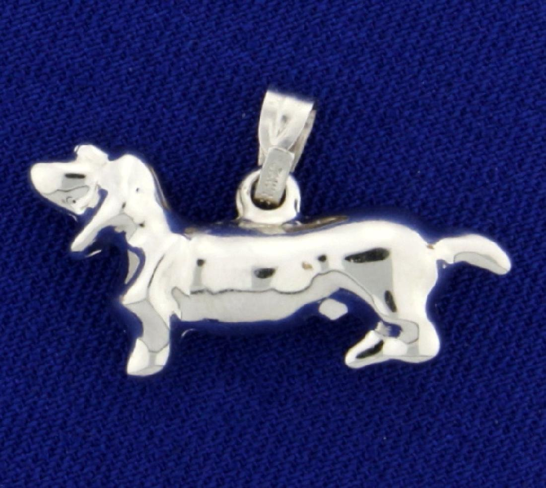 Dachshund/Weiner Dog Pendant in 14K White Gold