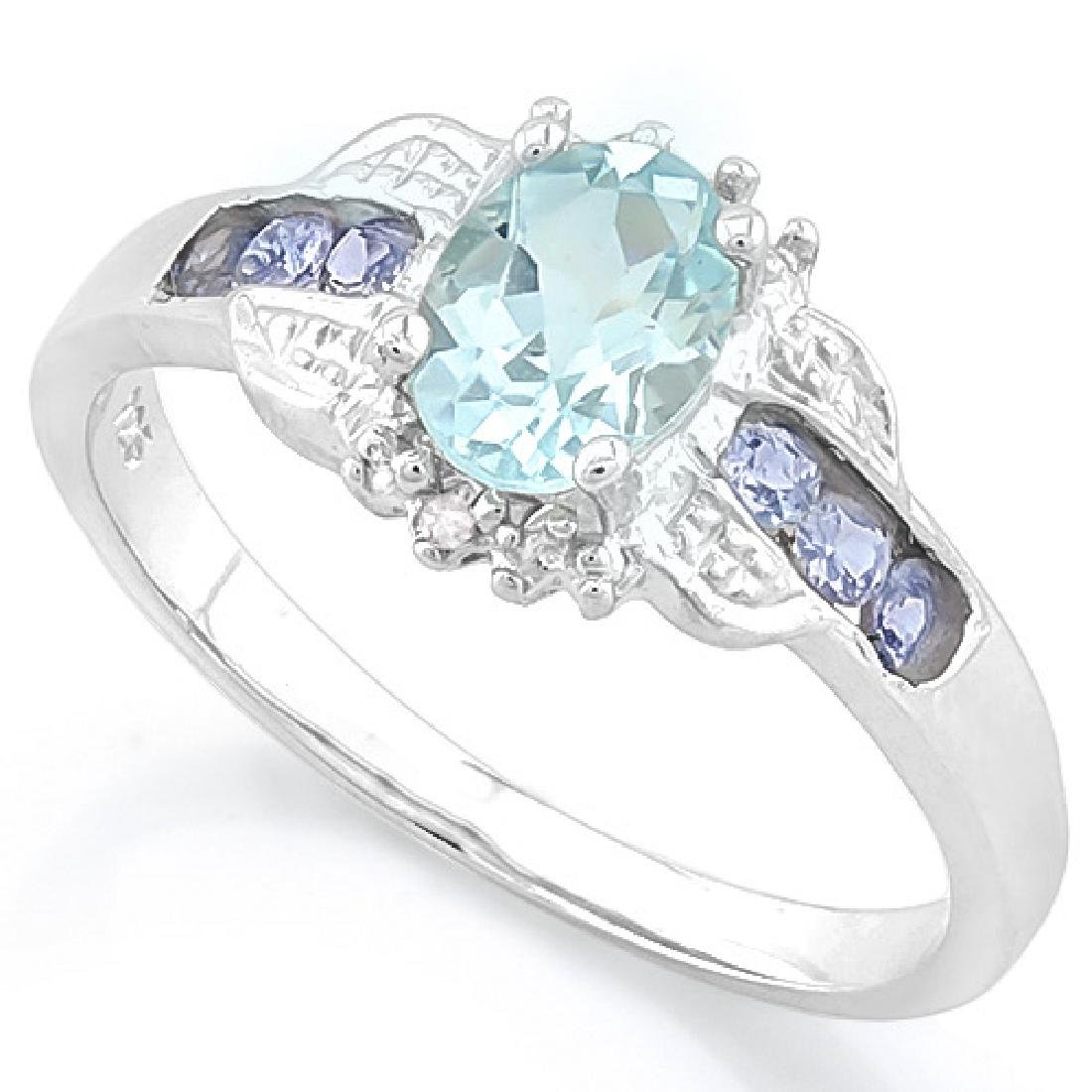Tanzanite and Aquamarine Deco Style Ring in Platinum