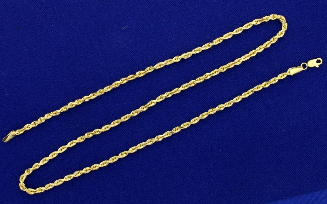 18 1/2 Inch Rope Style Neck Chain in 14k Gold