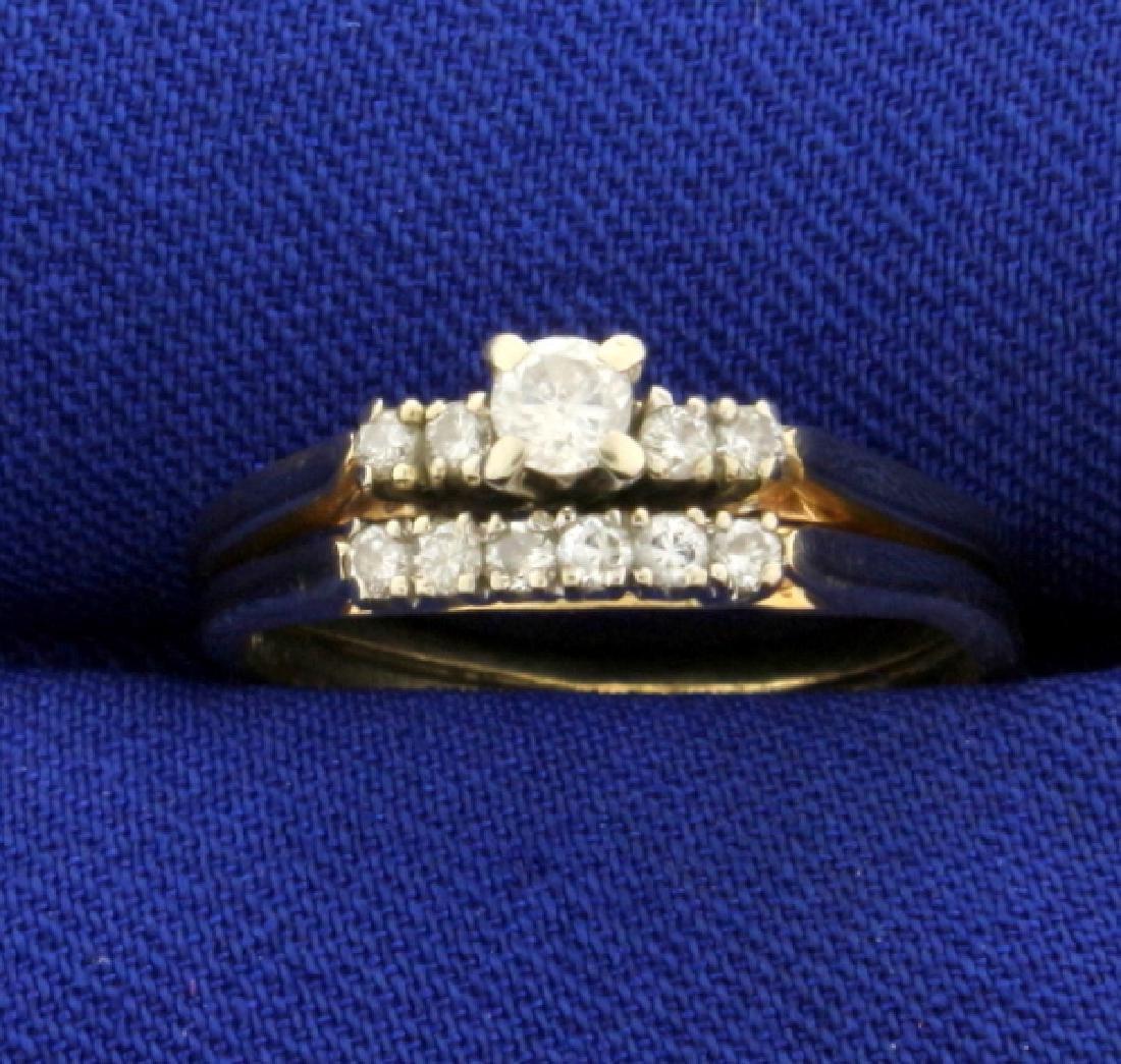 Diamond Wedding Ring Set in 14K Yellow Gold