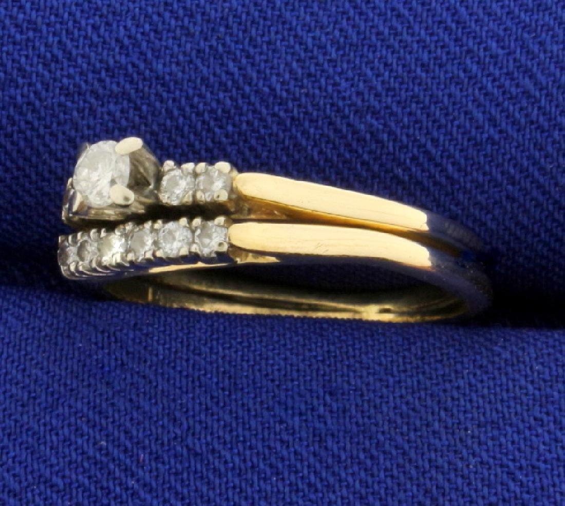 Diamond Wedding Ring Set in 14K Yellow Gold - 2
