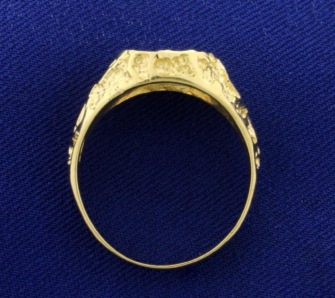 Gold Mercedes Peace Symbol Ring - 3