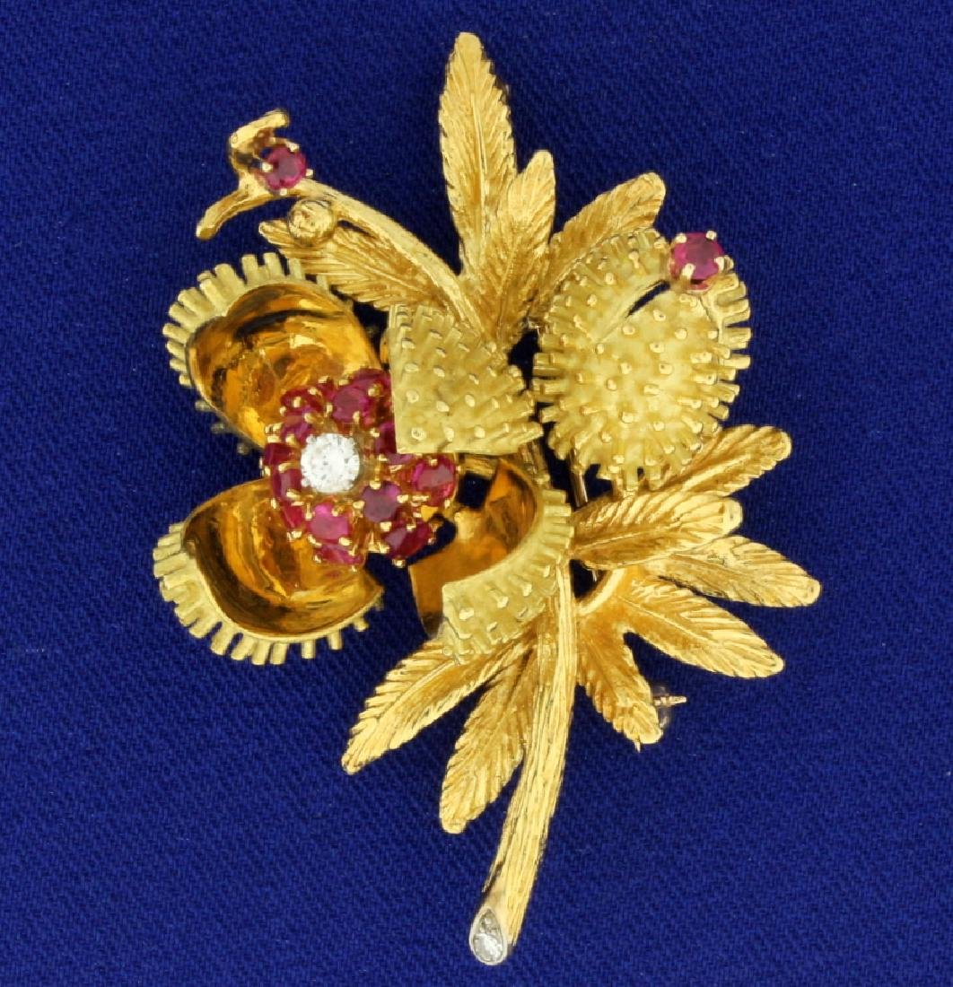 Antique Diamond and Ruby Flower Brooch Pin