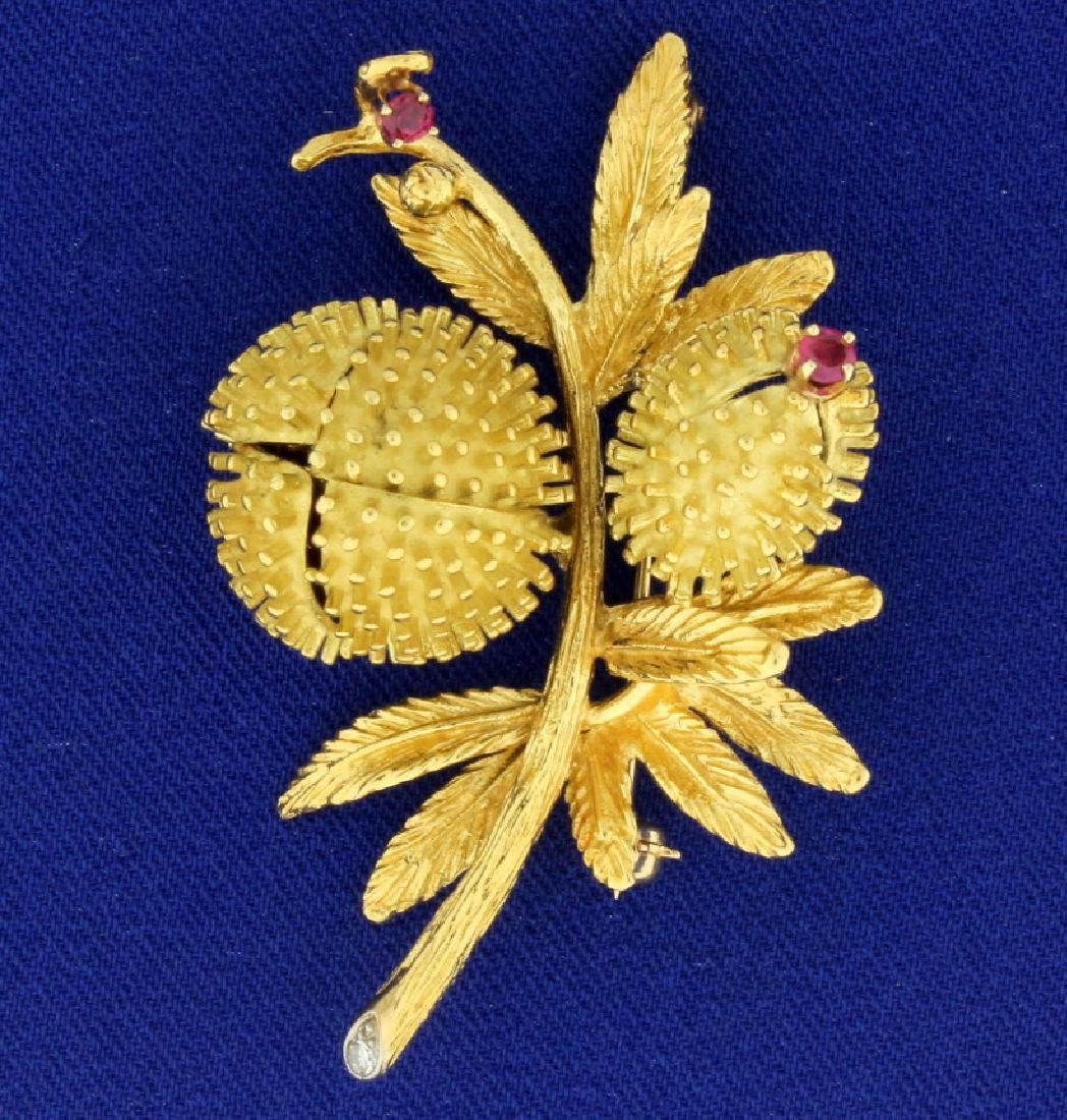 Antique Diamond and Ruby Flower Brooch Pin - 2