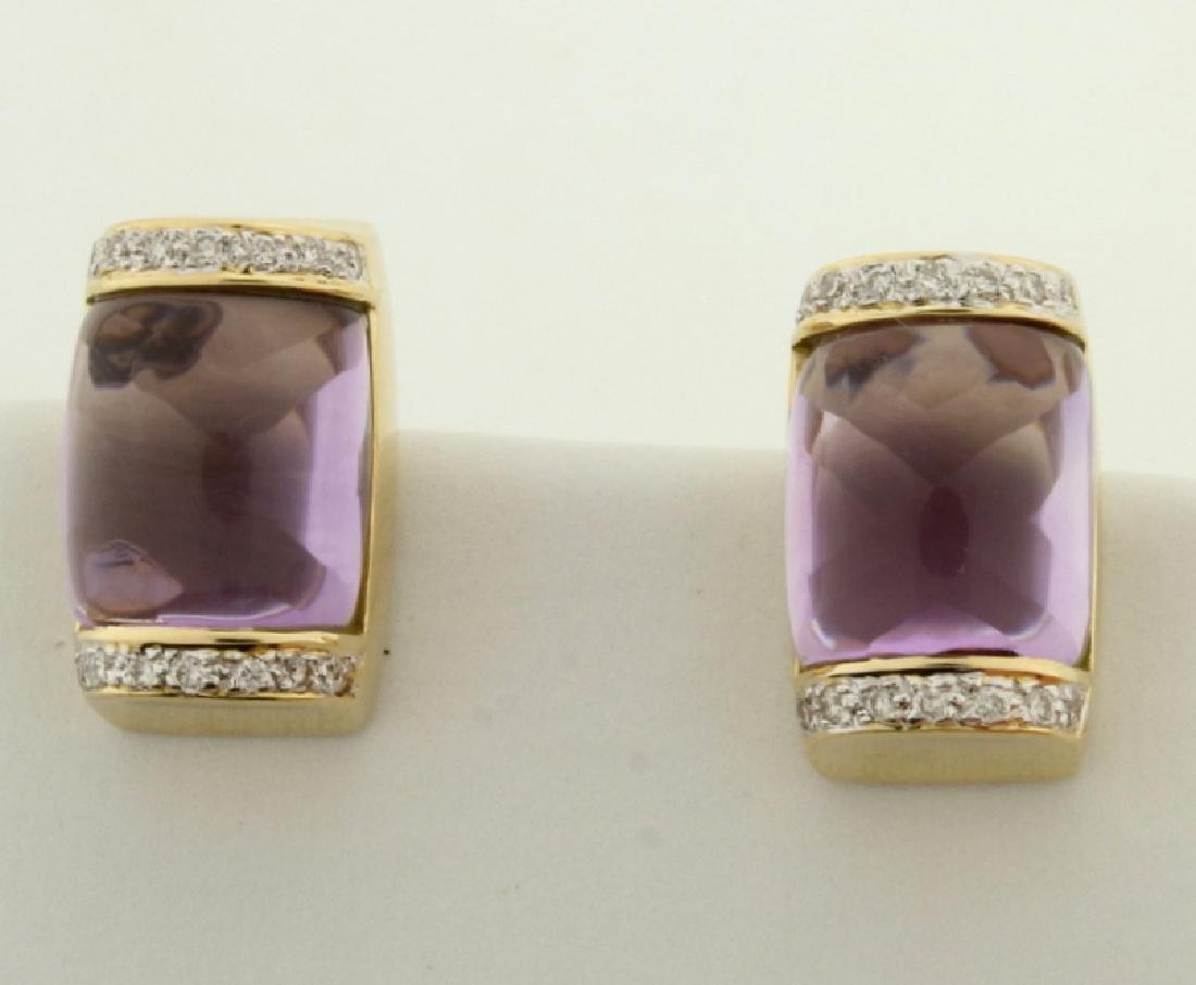 18k Gold Amethyst and Diamond Earrings