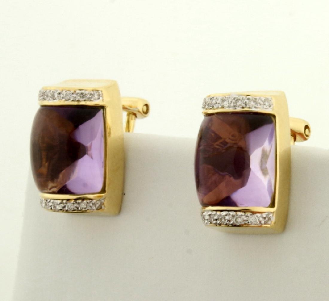 18k Gold Amethyst and Diamond Earrings - 2