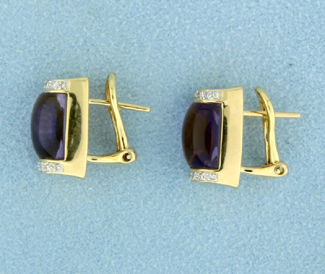 18k Gold Amethyst and Diamond Earrings - 3