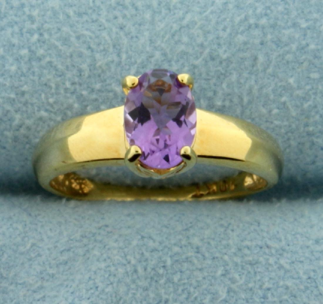 1ct Amethyst Solitaire Gold Ring