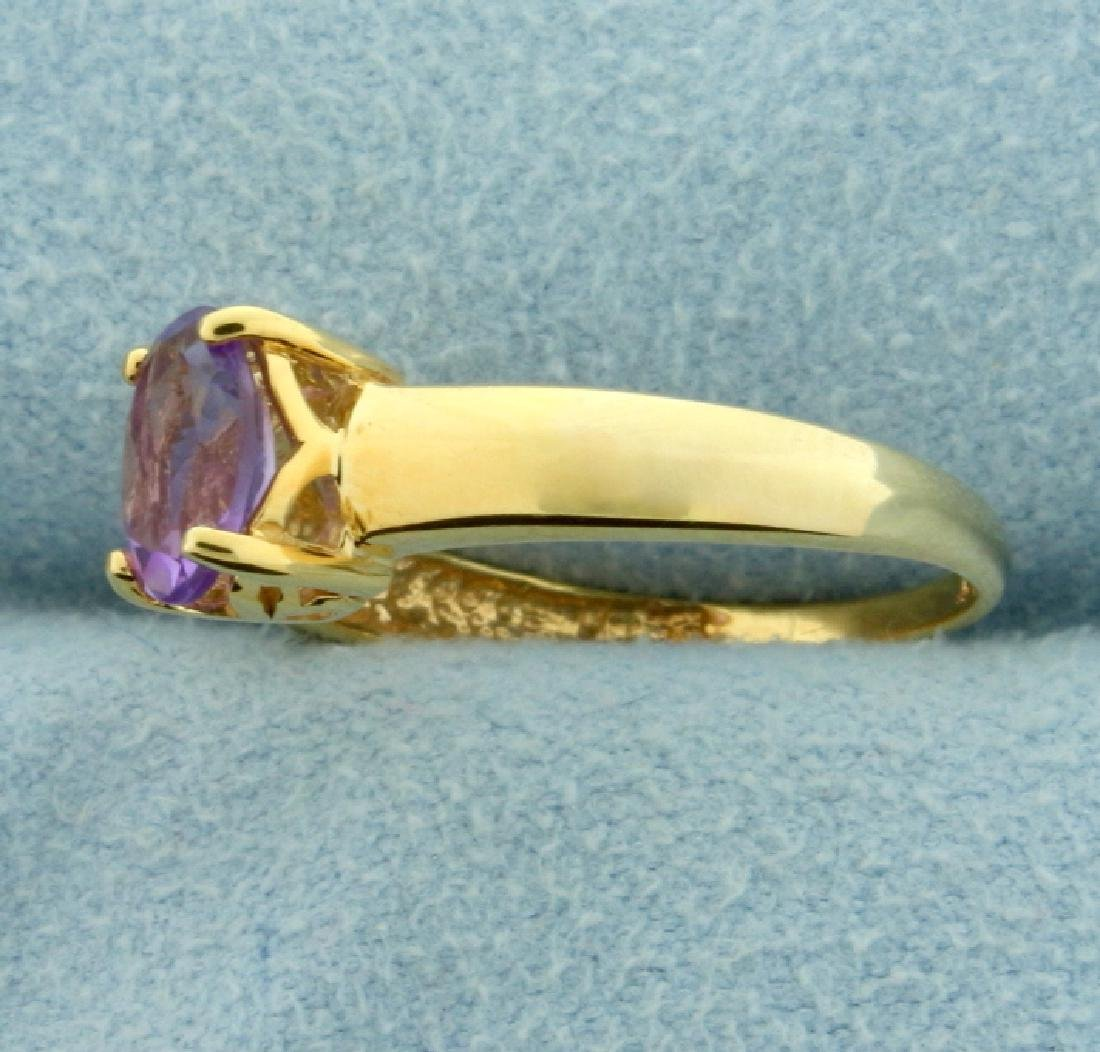 1ct Amethyst Solitaire Gold Ring - 2