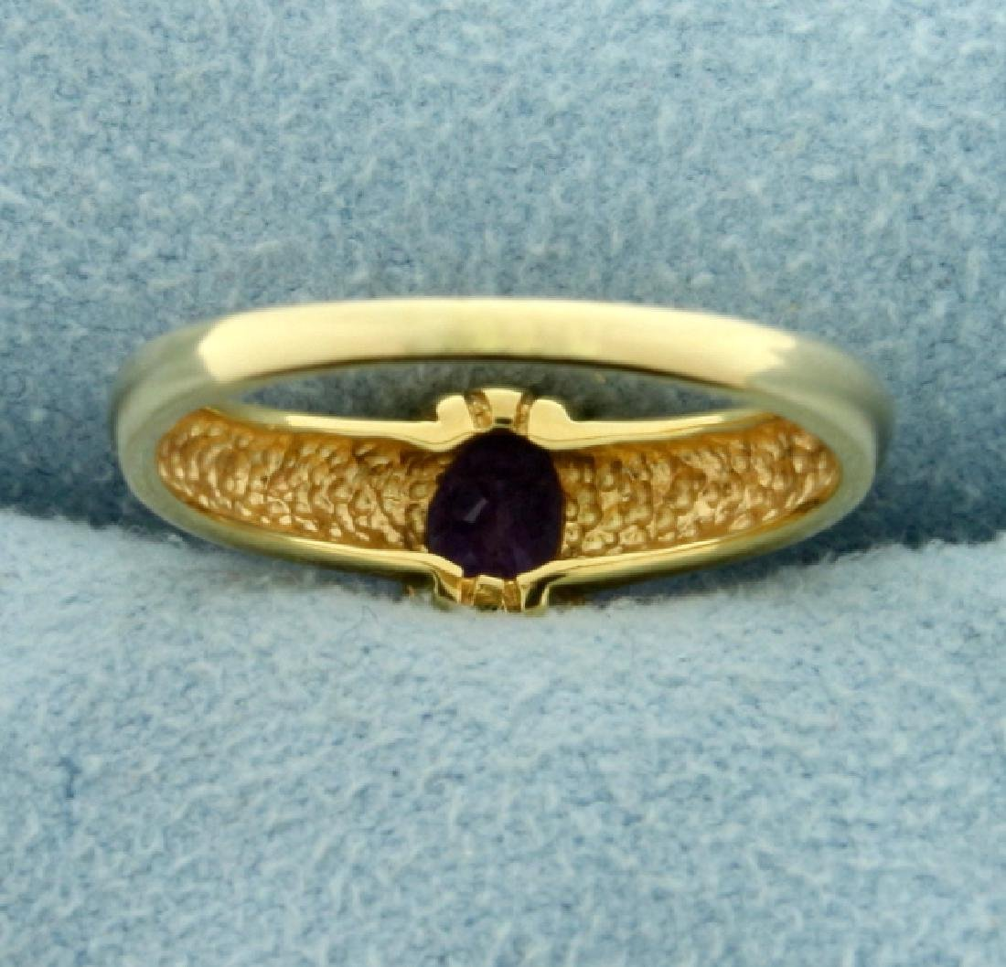 1ct Amethyst Solitaire Gold Ring - 3