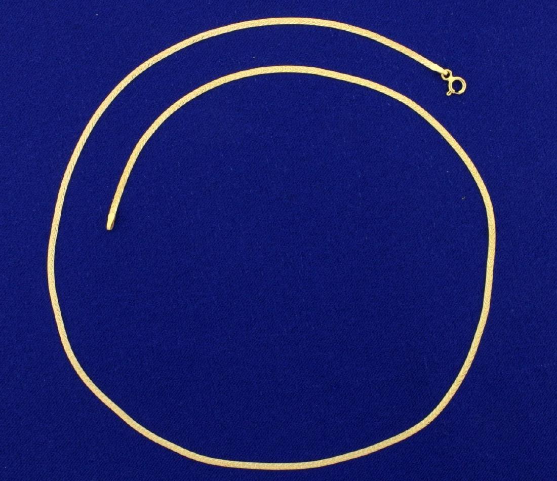 Italian Made Diamond Cut Flat Link Chain in 14K Yellow