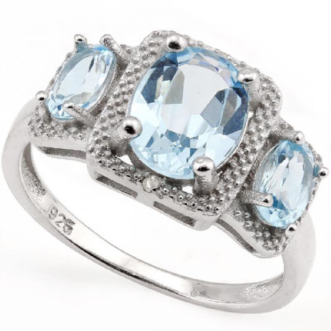 Large 3 Stone Sky Blue Topaz Art Deco Inspired Ring in