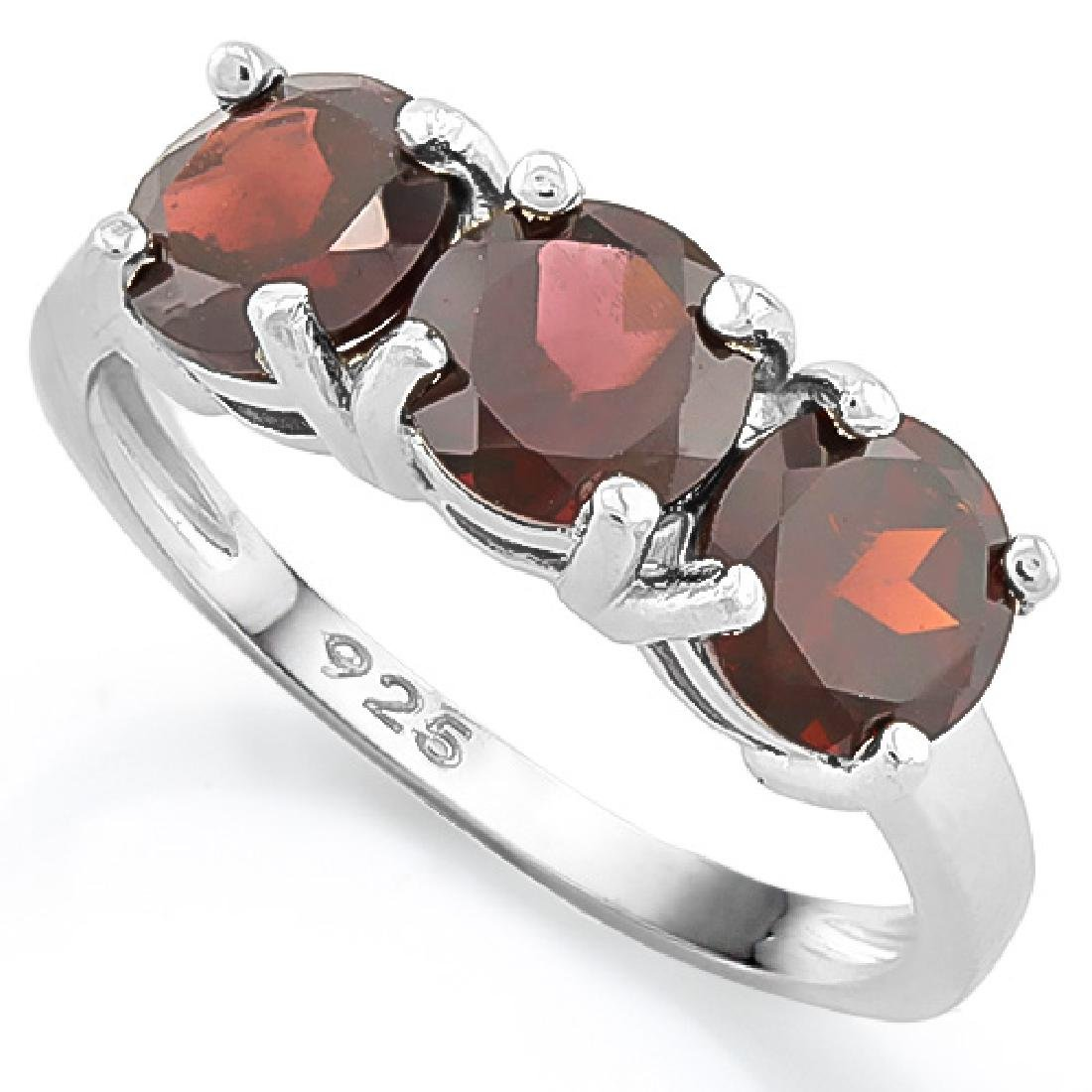 Garnet Three Stone Ring in Sterling Silver