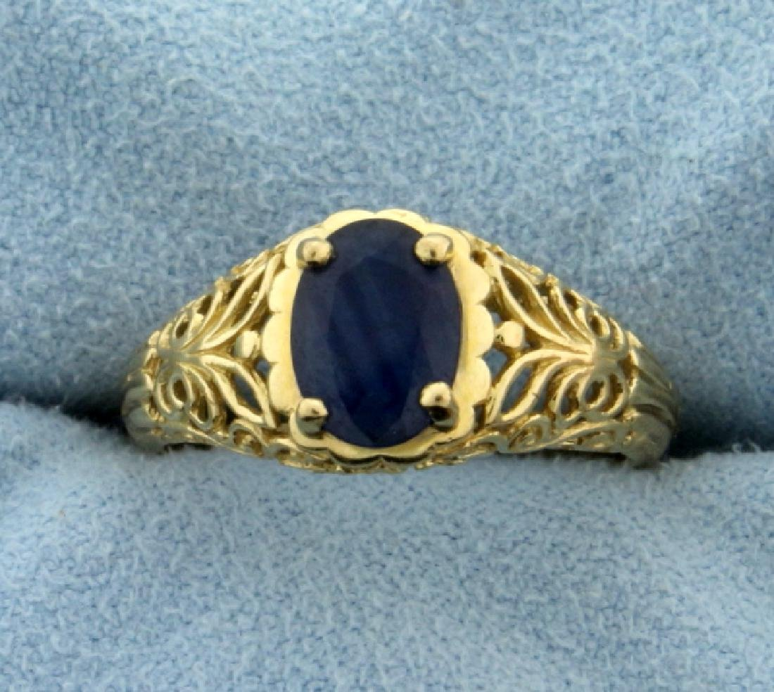 1.5ct Natural Sapphire Filigree Ring