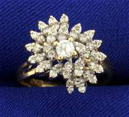 1/3ct TW Diamond Cluster Ring in 14K Yellow Gold