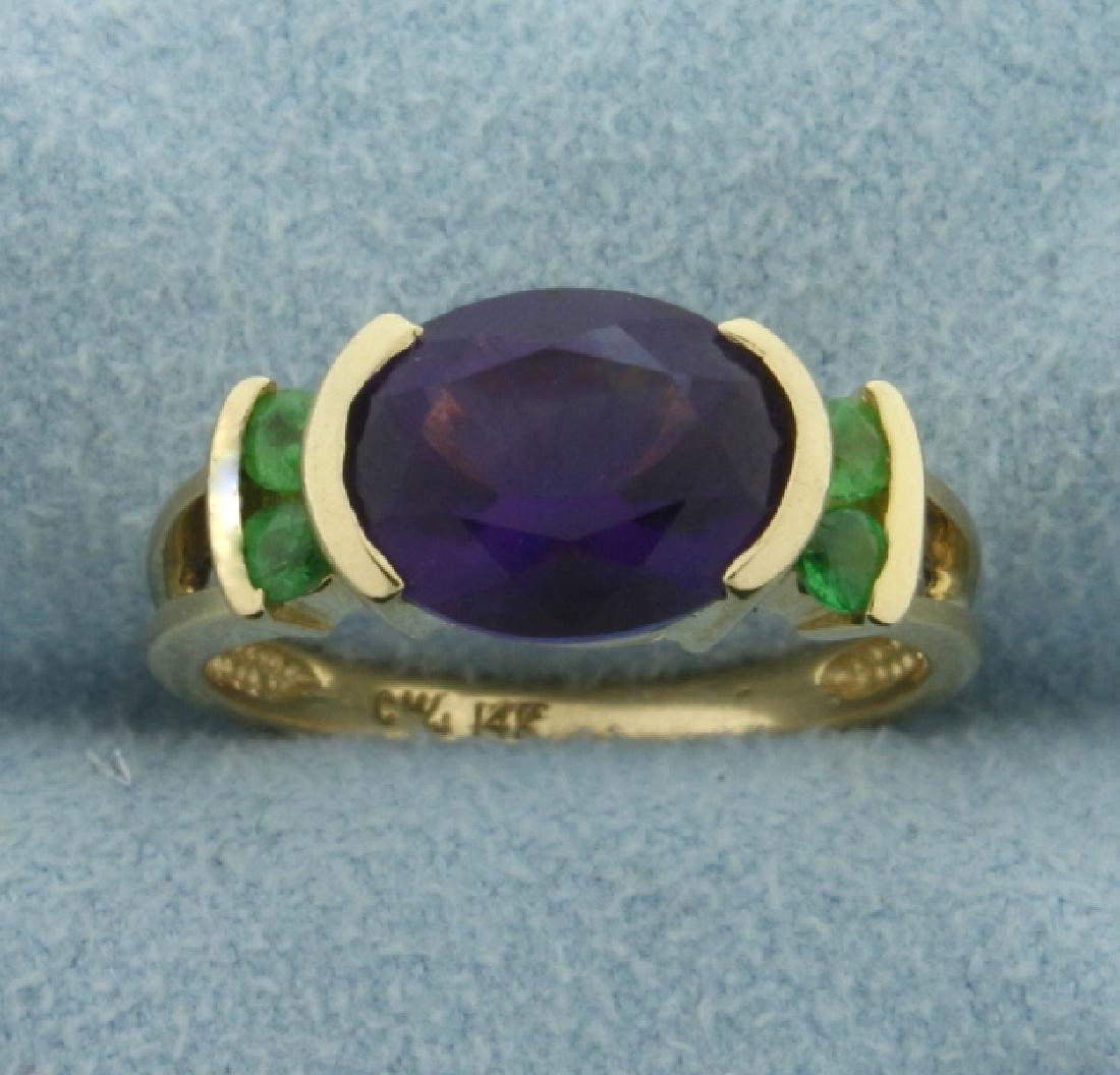 Amethyst and Peridot Ring in 14K Yellow Gold