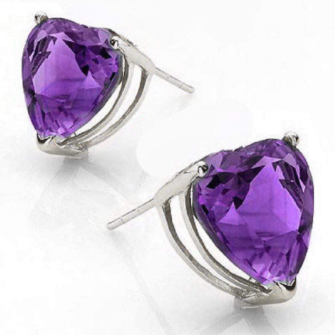 Amethyst Heart Stud Earrings 6MM in Sterling Silver