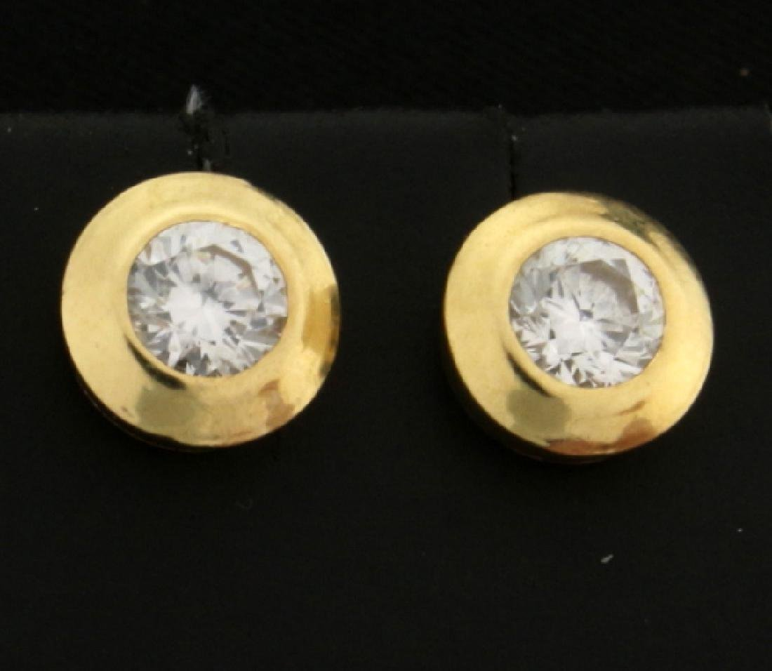 CZ Gemstone Gold Earrings