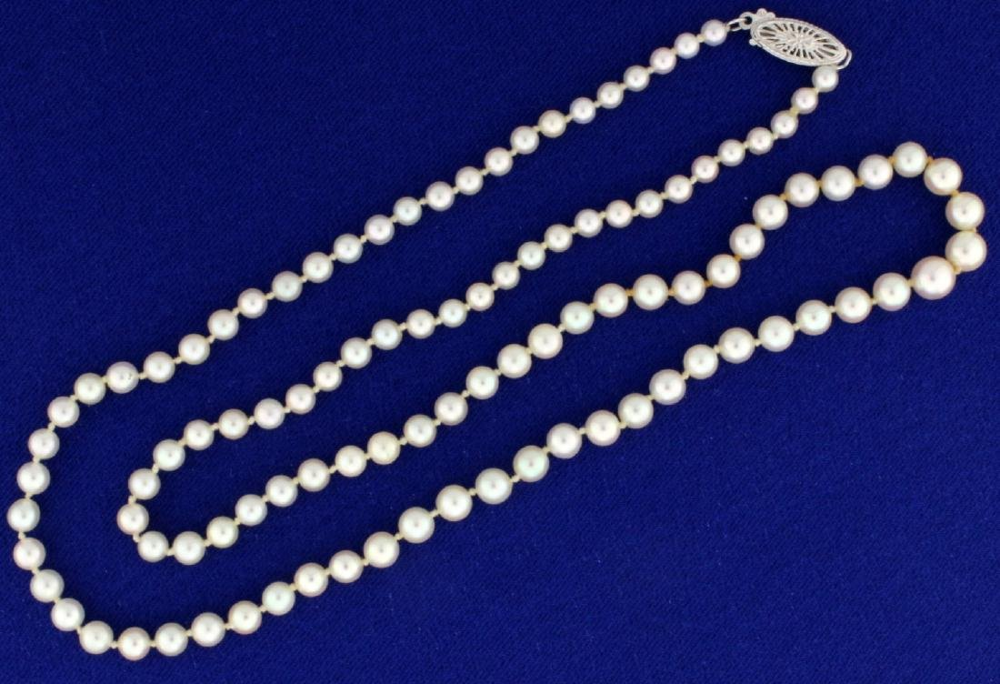Graduated Akoya Pearl Necklace with 14k White Gold