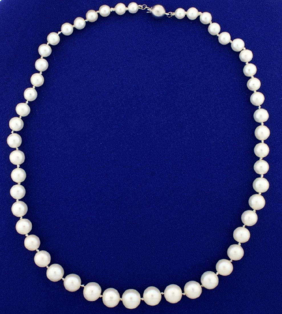 Vintage Graduated Natural Akoya Pearl Necklace with 18k