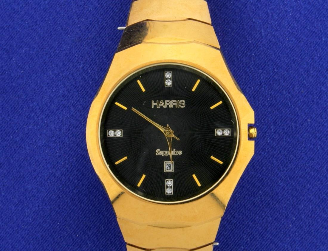 Harris Men's Sapphire Tungsten Watch with Diamond Face