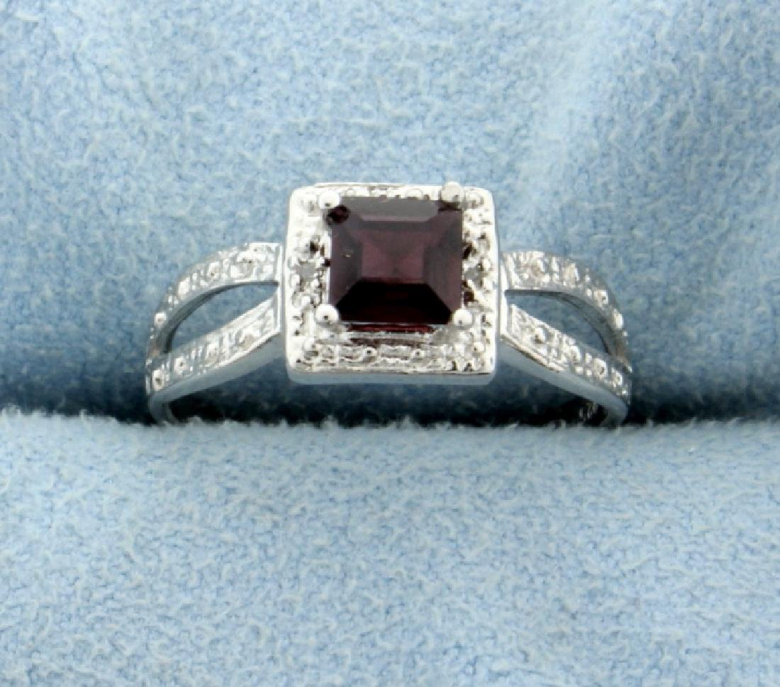 Garnet and Diamond Ring in Platinum over Sterling