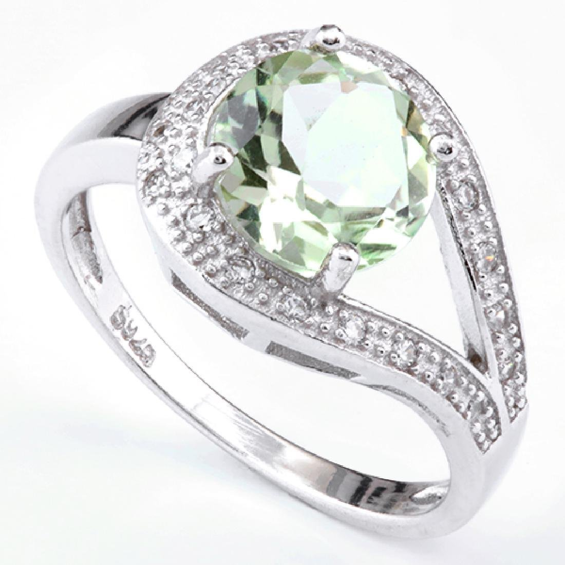 Green Amethyst Ring with White Sapphire in Sterling