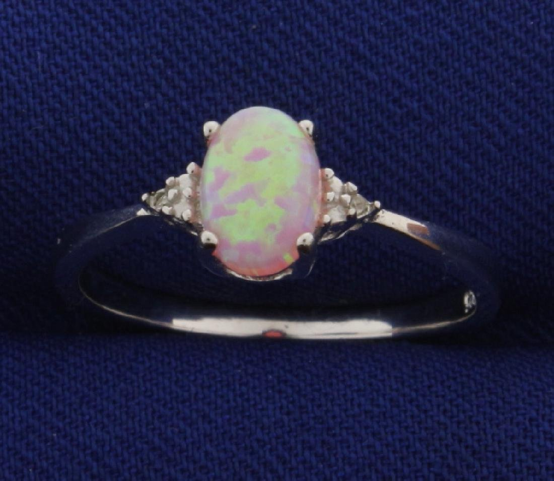 Pink Lab Opal Ring with Diamonds in Sterling Silver
