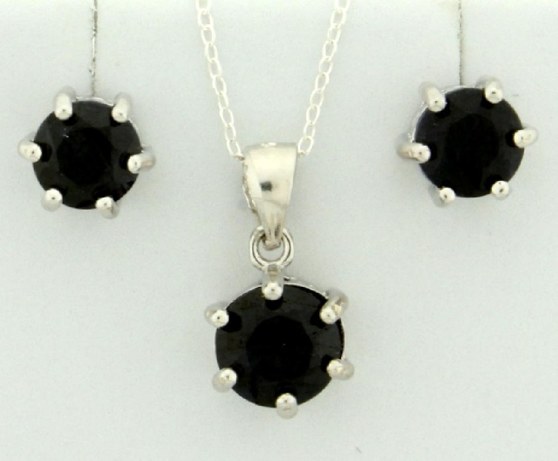 Midnight Sapphire Earring and Pendant SET in Sterling