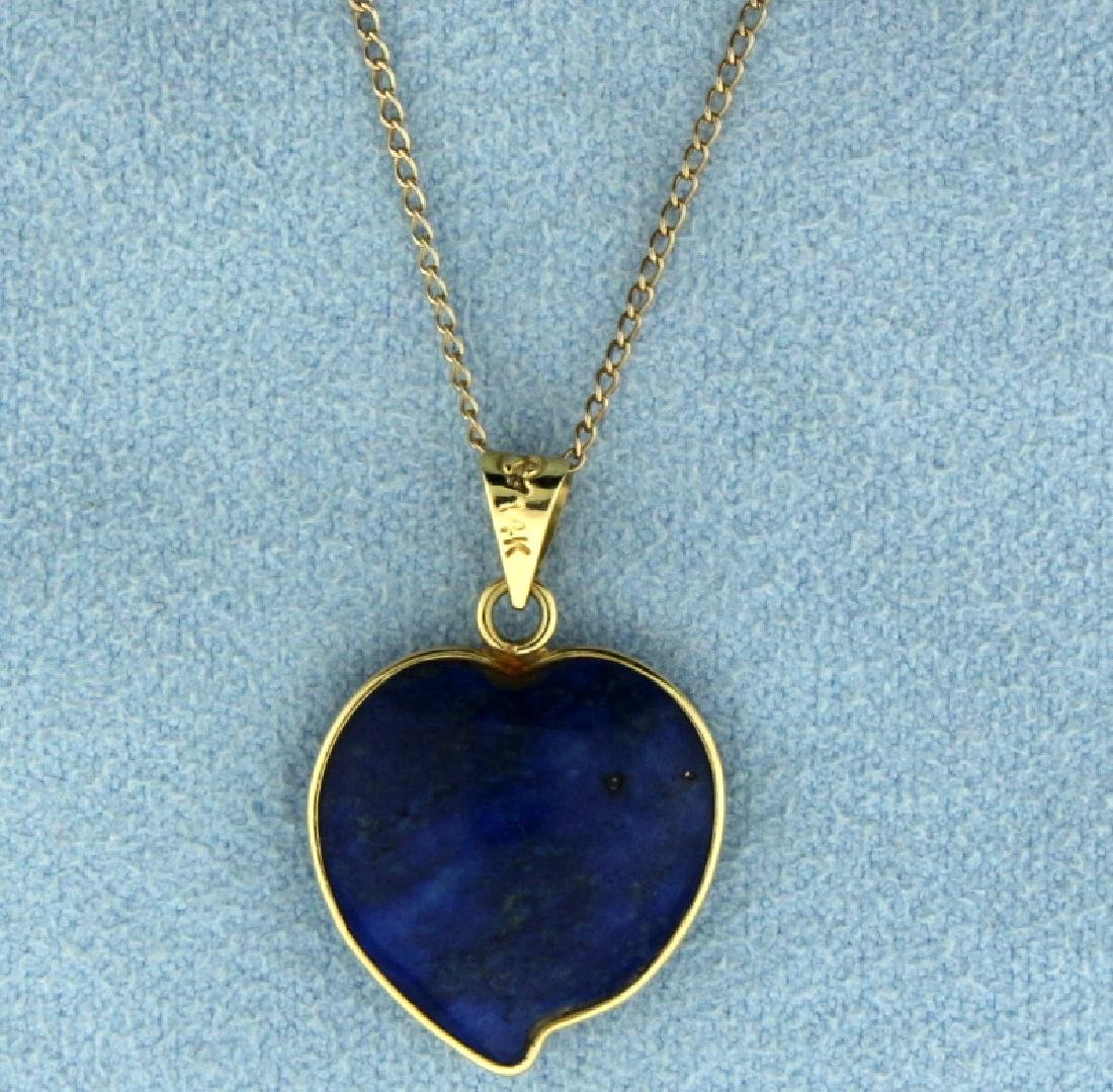 Lapis Peach Shaped Necklace