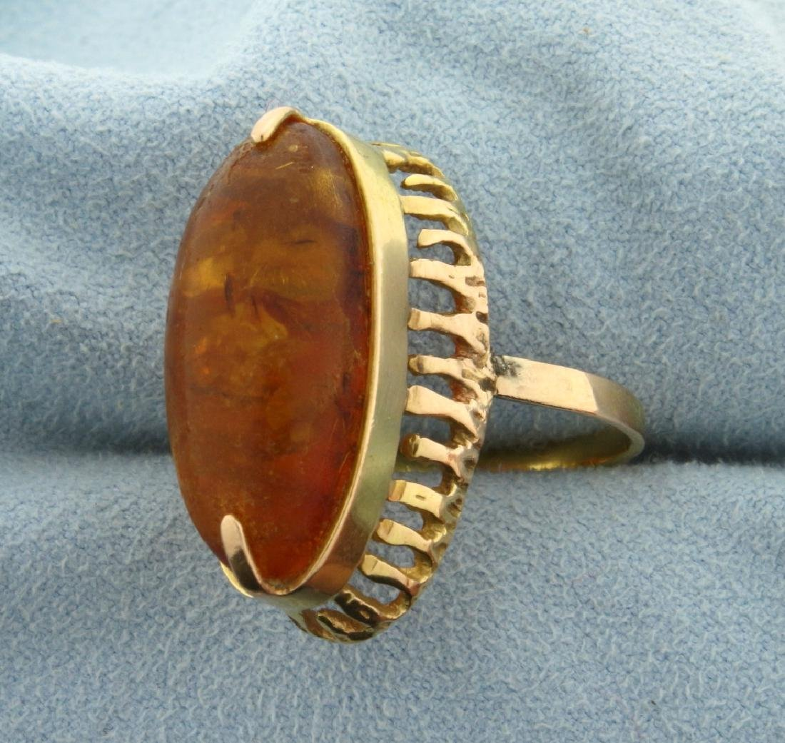 Large Amber Gemstone Ring - 2