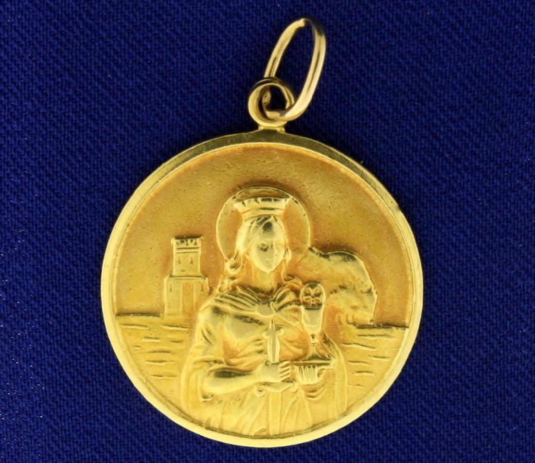 Saint Barbara Pendant in 18k Gold