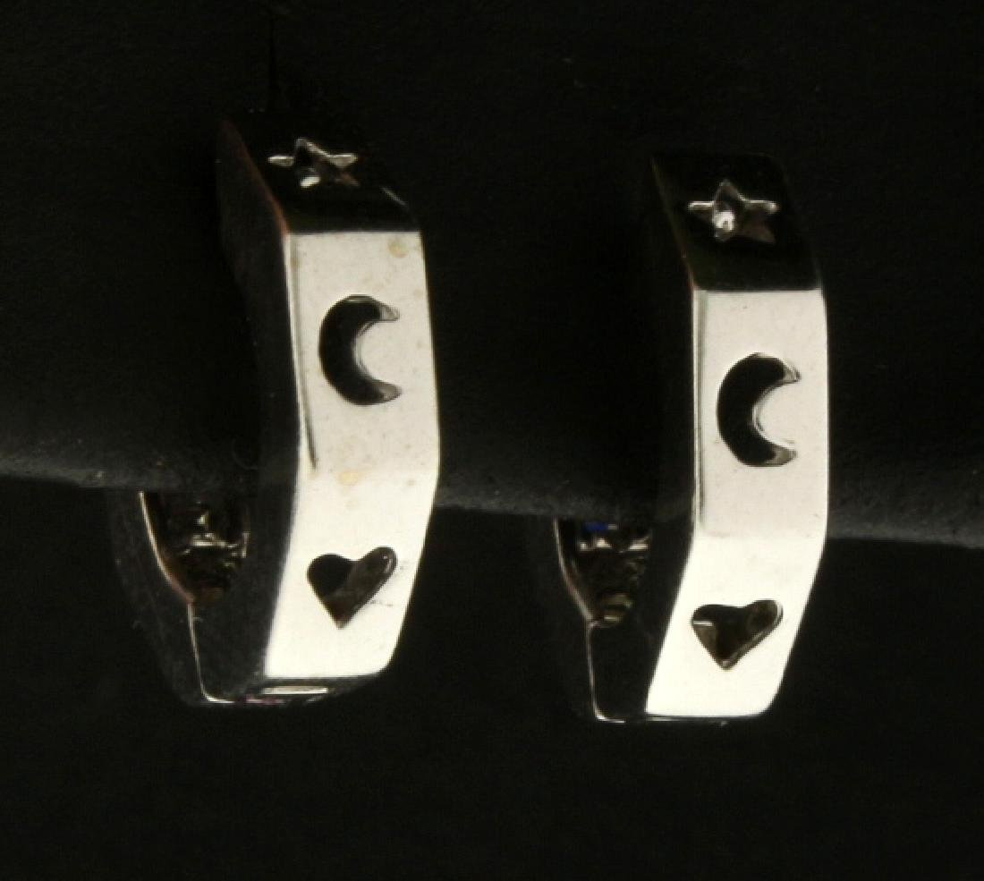 Diamond Hoop Earrings with Heart, Moon, and Star Design - 2