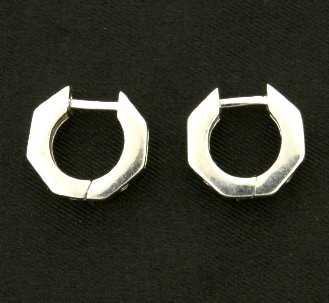 Diamond Hoop Earrings with Heart, Moon, and Star Design - 3
