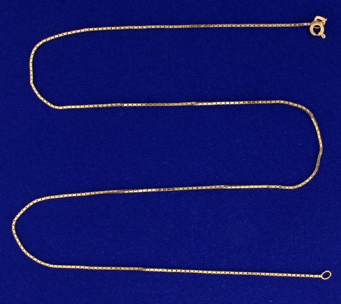 Italian Made 19 Inch Box Link Neck Chain in 14k Gold