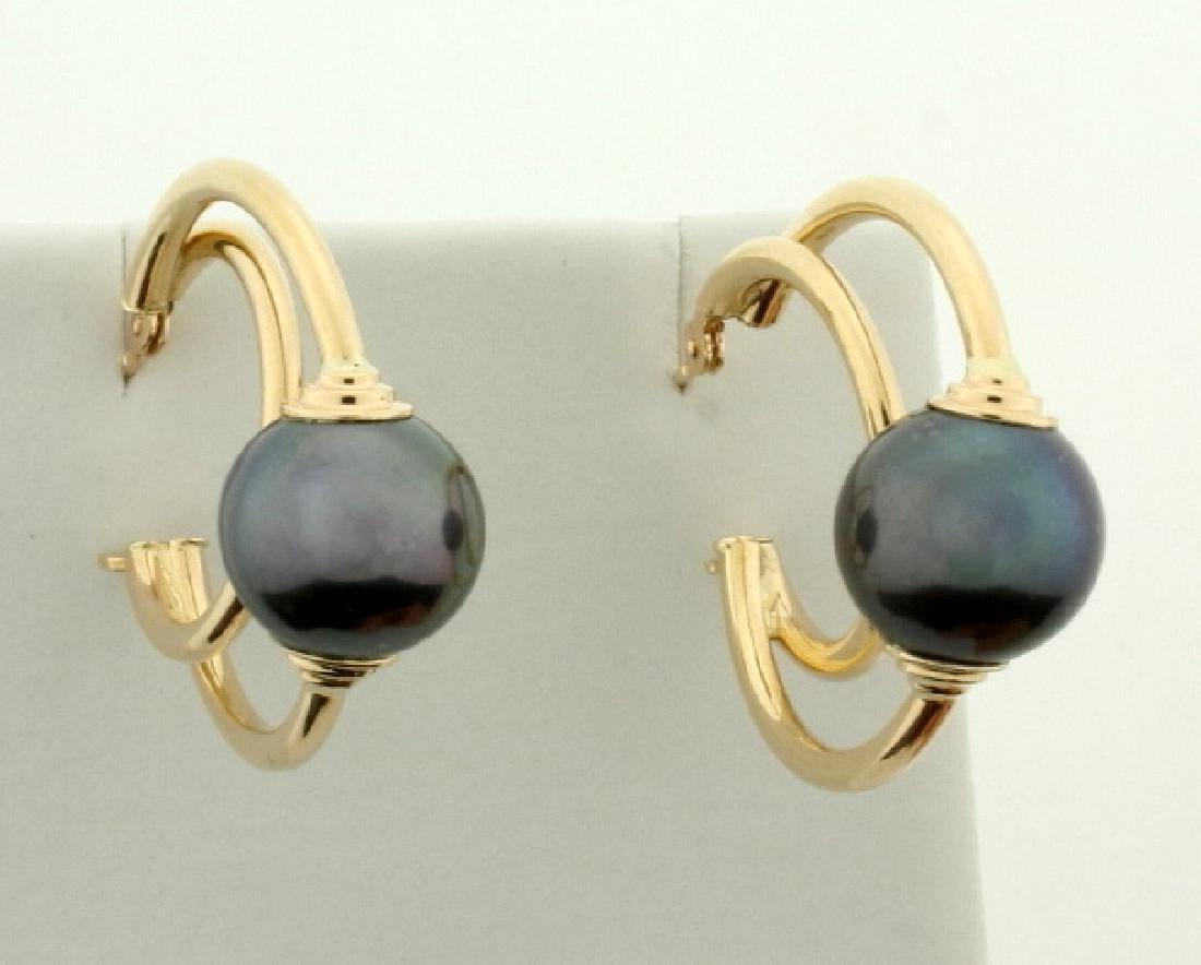 Black Pearl Hoop Earrings in 14k Gold