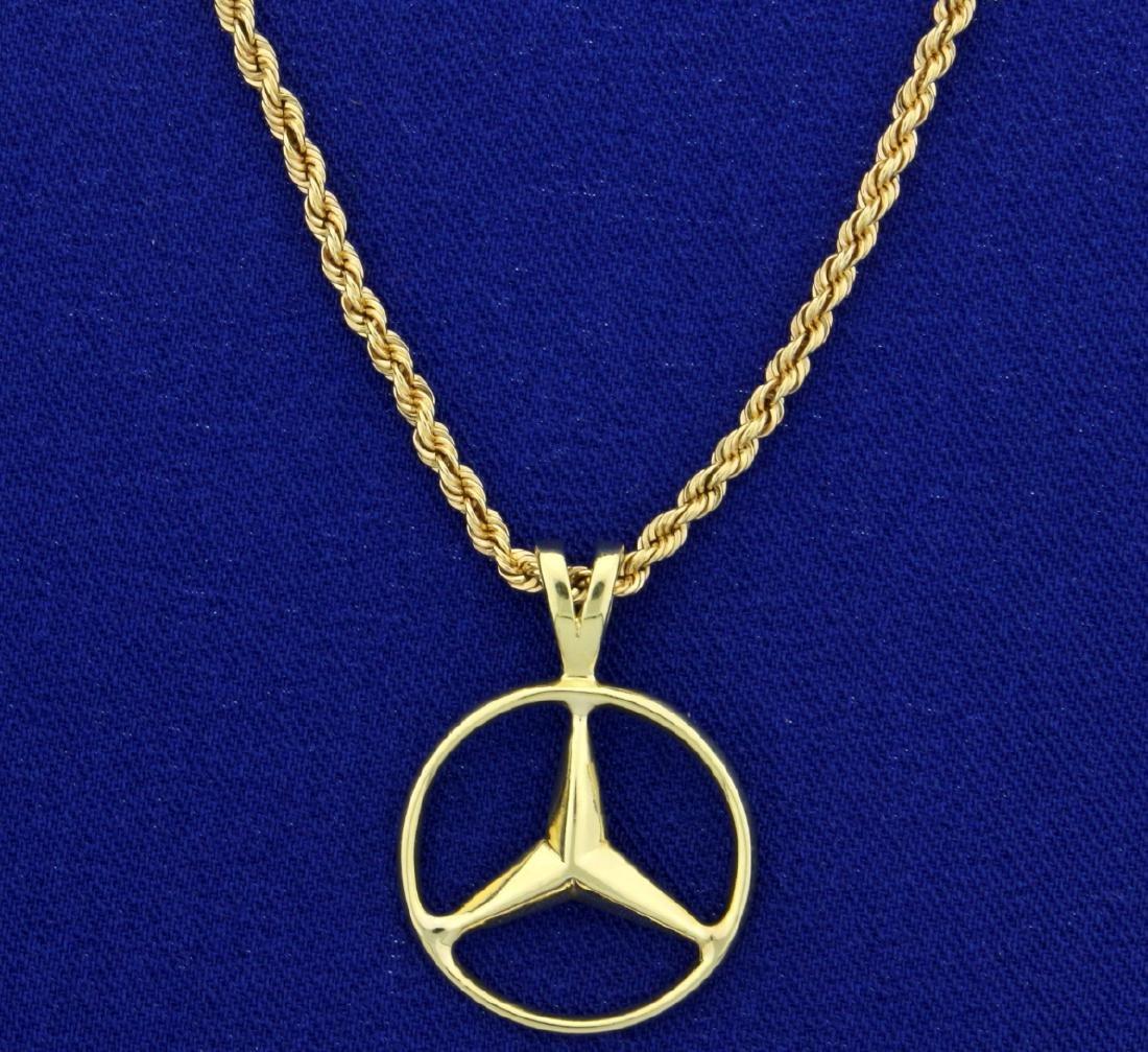 Mercedes Emblem Pendant on 14k Neck Chain