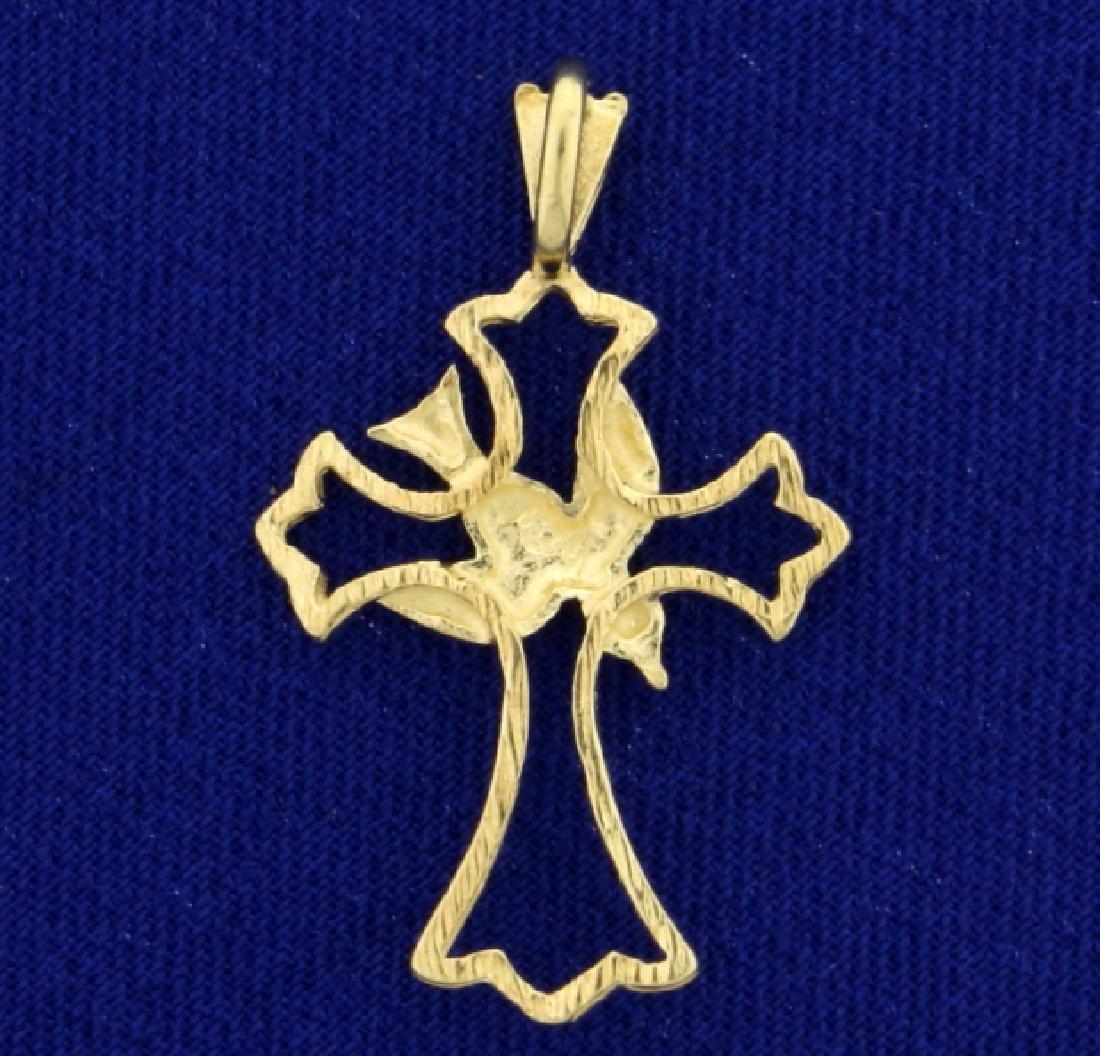 Dove and Cross Diamond Cut Pendant in 14K Yellow Gold - 2