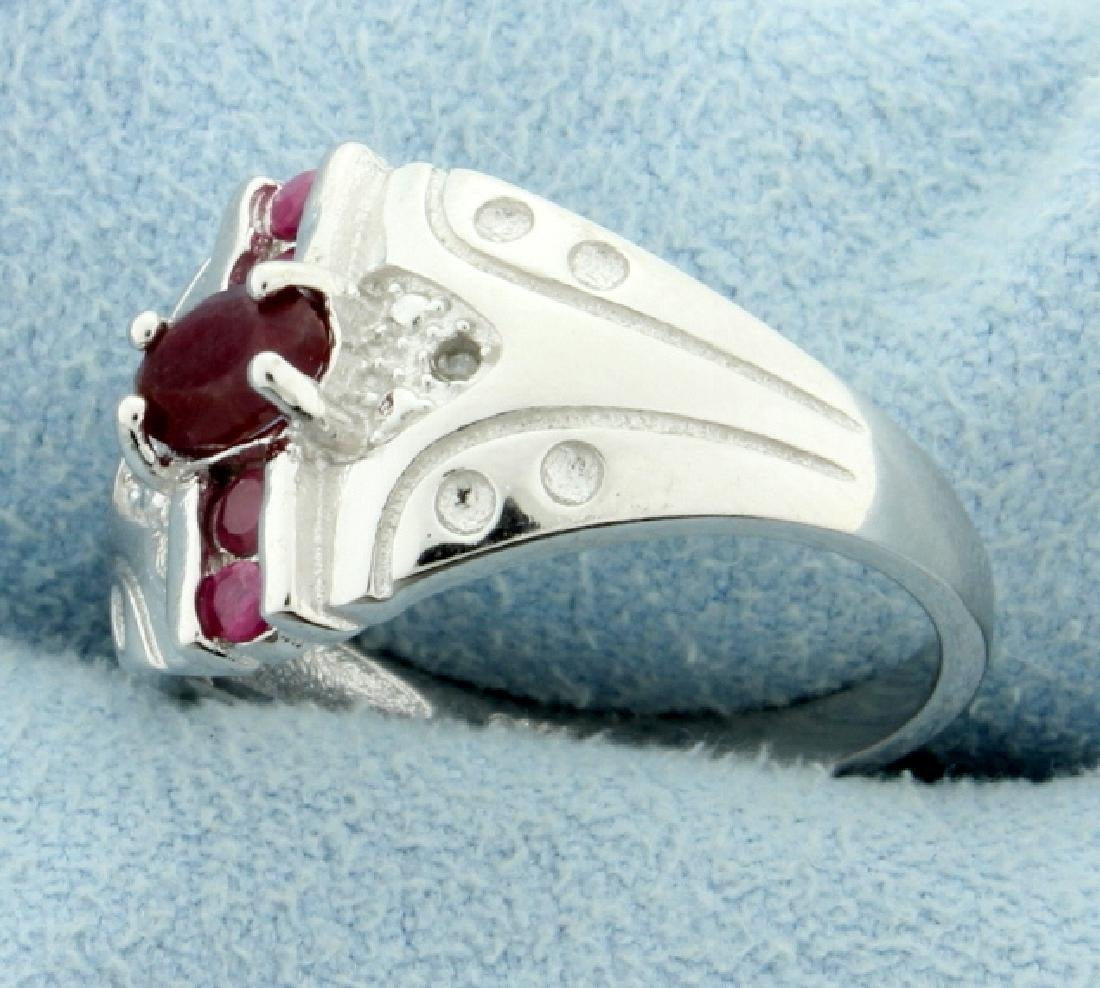 African Ruby and Diamond Fashion Ring - 2