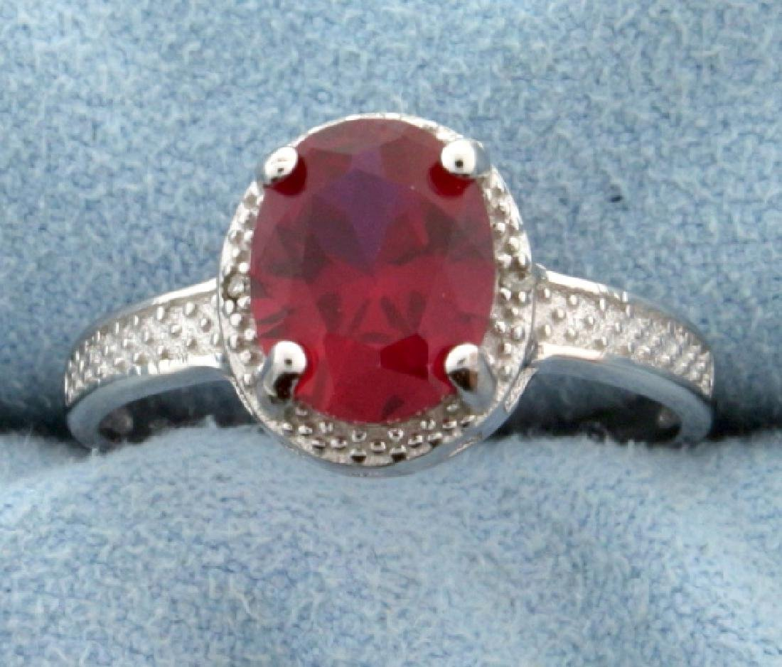 Lab Ruby Oval Cut 7x9MM and Diamond Ring Vintage Style